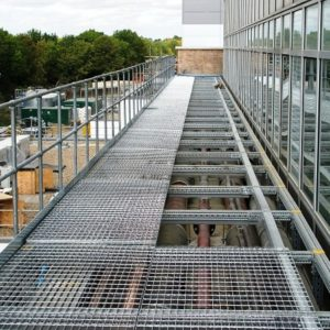 Integrated Walkway Platform and Services Support Frames